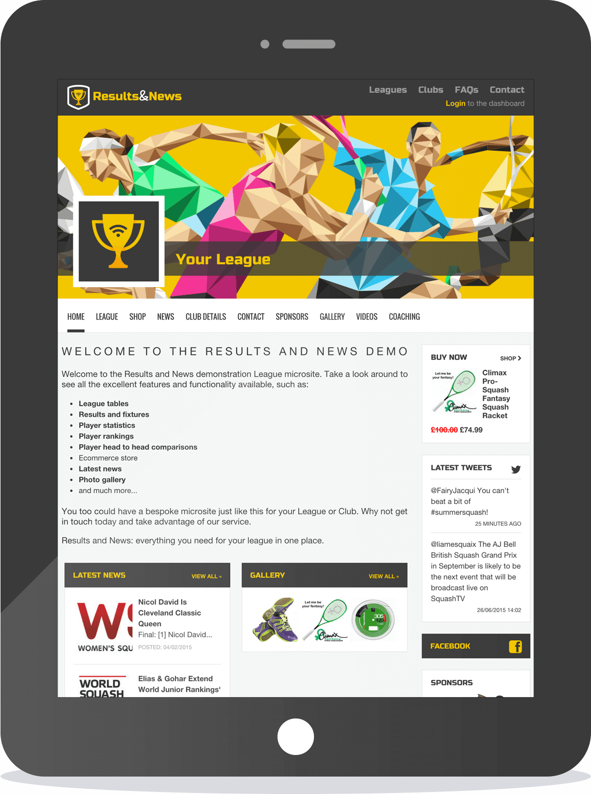 Build bespoke microsites for your league